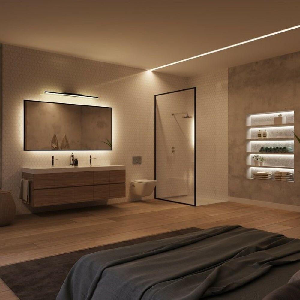 modern hálóval egybenyitott fürdőszoba hangulatvilágítással
