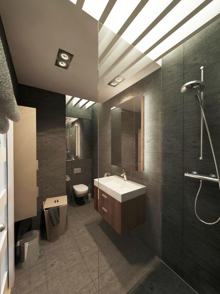 Modern zuhanyzós fürdőszoba megvilágítási megoldása rejtett lamellás álmennyezettel