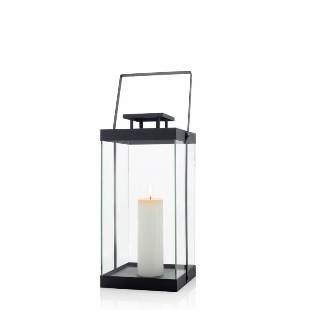 FINCA fekete szögletes nagy gyertyatartó lámpás