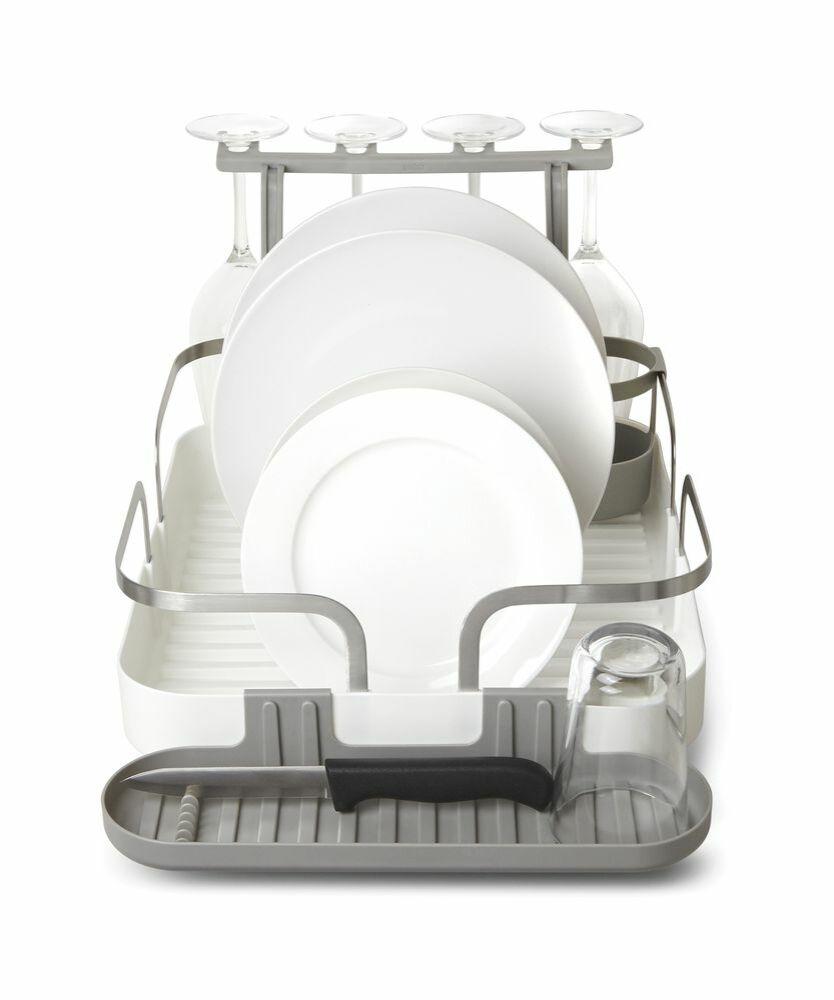 HOLSTER edénycsepegtető, több részes, konyhai, evőeszköz tartóval, fehér, műanyag-rozsdamentes acél
